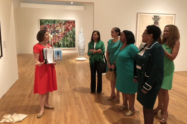 Jessica Ruhle leading a tour for the Durham (NC) Chapter of the Links, Incorporated